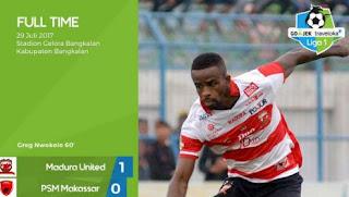 Madura United  vs PSM Makassar 1-0 Liga 1 Sabtu 29 Juli 2017