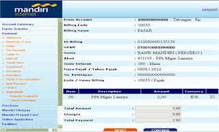 pembayaran pajak dengan kode billing melalui internet banking