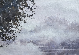 A water colour painting of fog and mist at the distance, by Manju Panchal