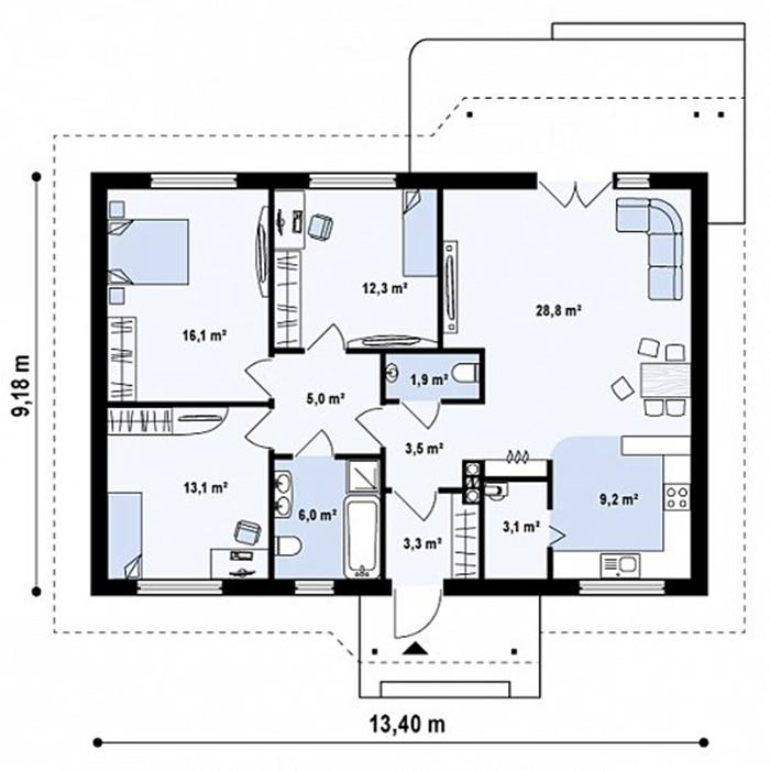 Mẫu thiết kế kiến trúc nhà cấp 4 ba gian 102m2- 3