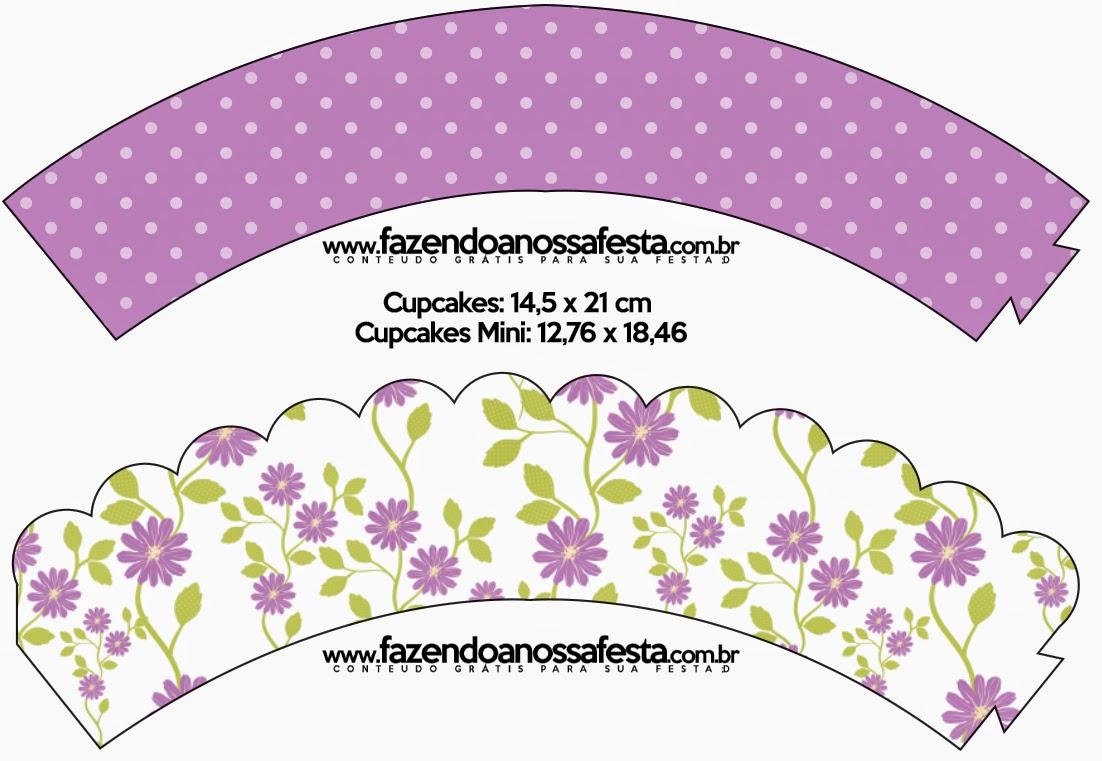 Wrappers para Cupcake de Flores Moradas.