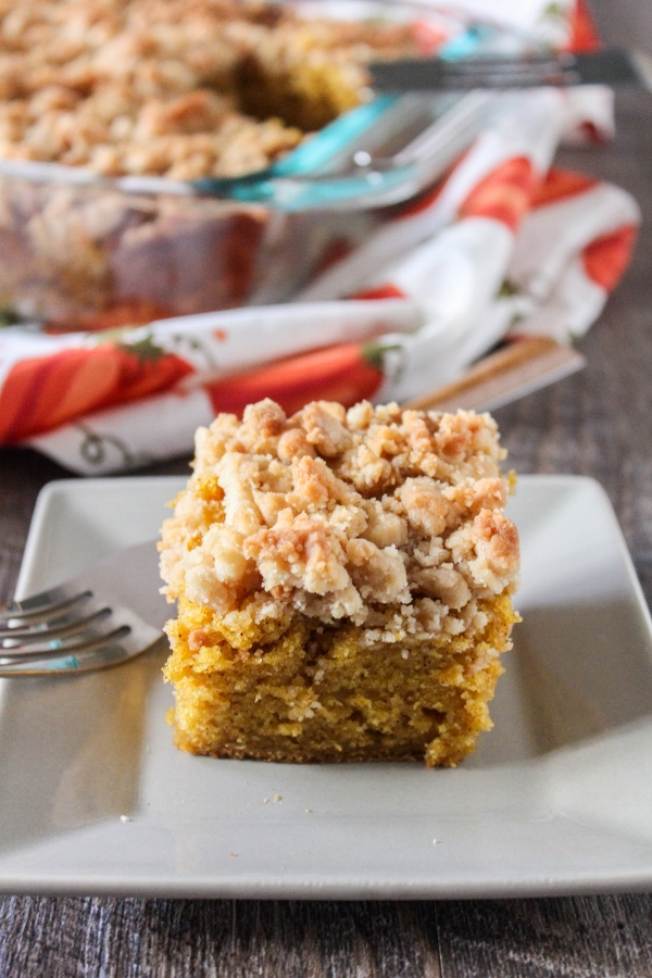 Celebrate fall with this moist and tender Pumpkin Coffee Cake! This simple recipe comes together in no time and is perfect with your morning coffee or tea!