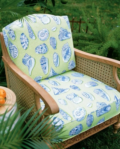 Upholstered Chair in Thibaut Seaside Shell Fabric