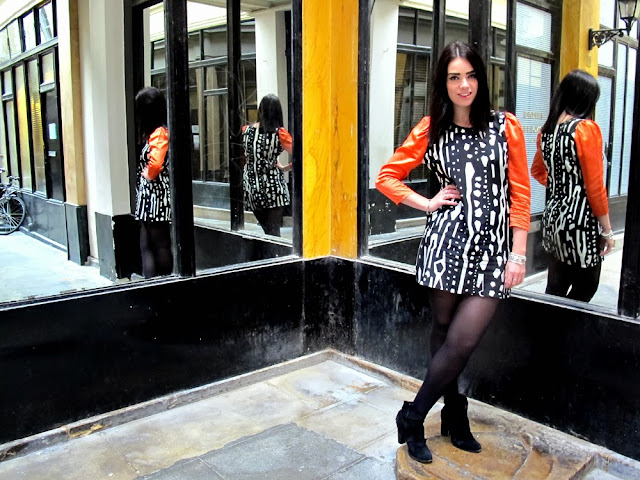 Fashion blogger Emma Louise Layla in Olivia Rubin contrast sleeve dress