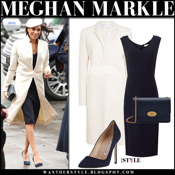 Meghan Markle in cream coat and navy midi dress amanda wakeley commonwealth day march 12 royal family fashion