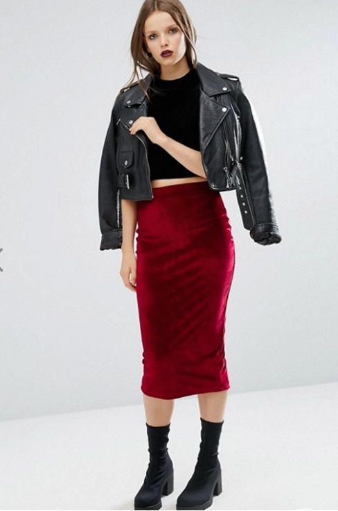falda terciopelo rojo