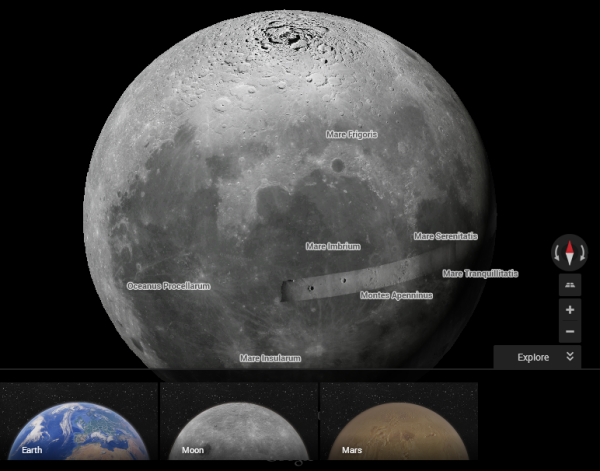Moon And Mars In Google Maps