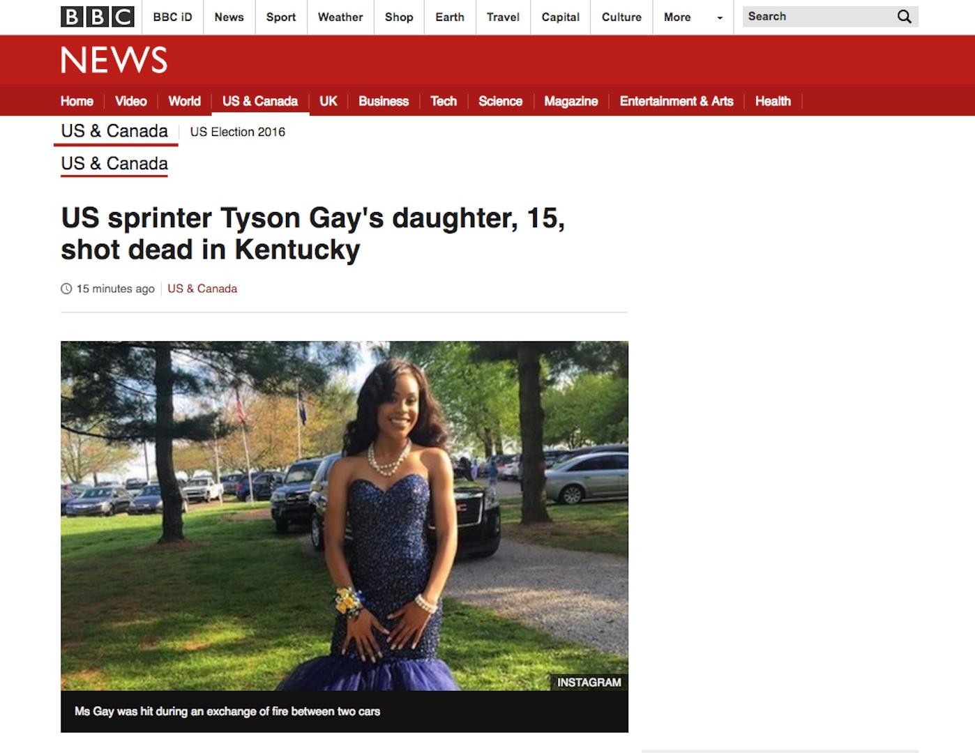 bbc us sprinter tyson gay s daughter 15 shot dead in kentucky