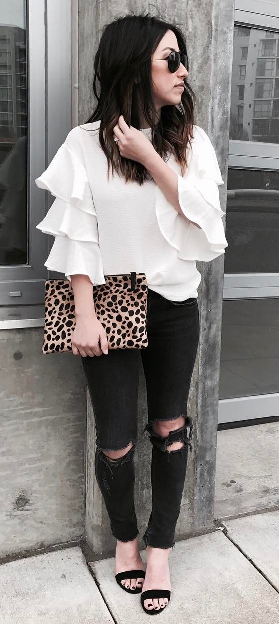 outfit idea: blouse + bag + rips