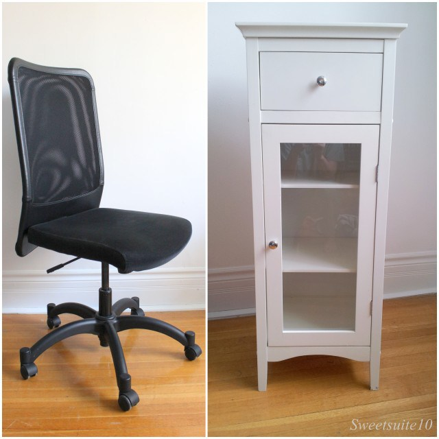 Desk chair and bathroom cabinet I sold