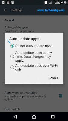 Do not auto updates app in android