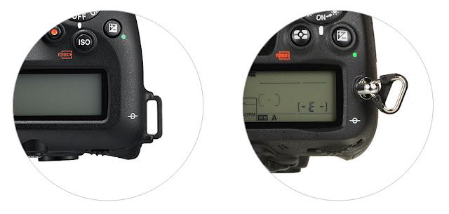 D7500(좌)과 D7000(우)의 스트랩 연결부분 비교