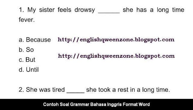Download Contoh Soal Grammar Bahasa Inggris Format Word