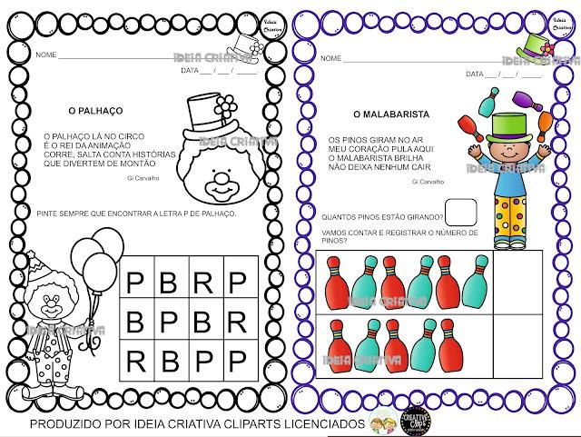 Atividades Circo Educação Infantil para Imprimir