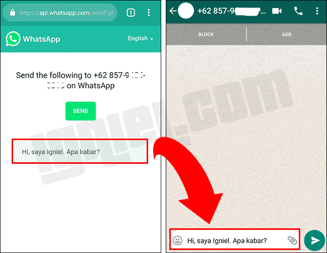 Kirim Chat WhatsApp Tapa Save Nomor HP