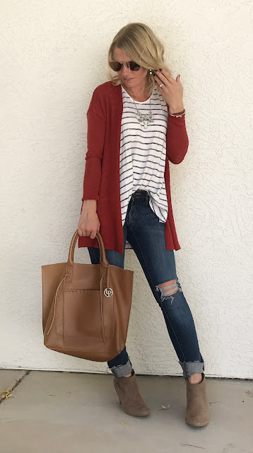 Thrifty Wife, Happy Life- Orange cadigan with stripe tank and distressed jeans