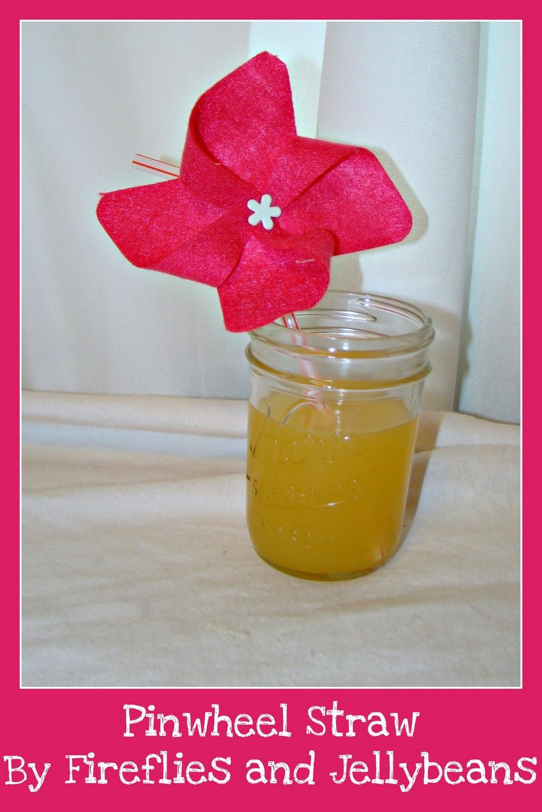 Fireflies And Jellybeans Felt Flowers And Pinwheel Straws