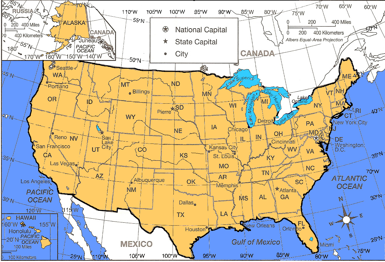 Which Four State Capitals Are Located Between 60 West And