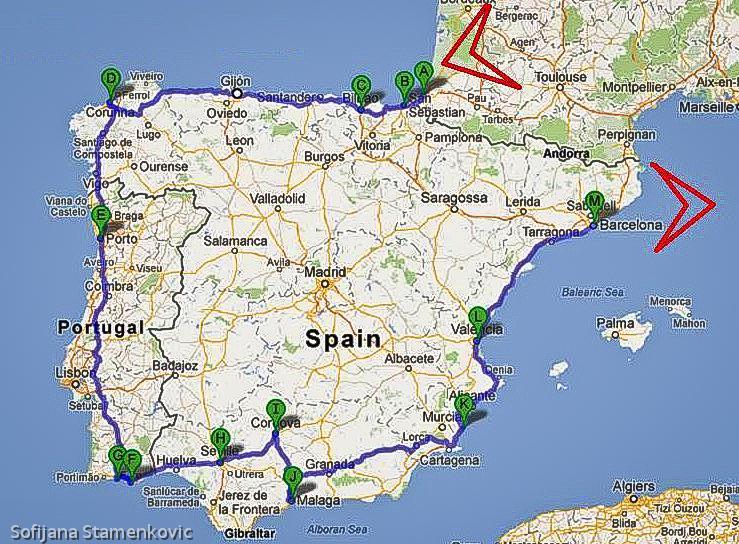 spanija karta Travelling and Beyond : 2012   Avgust, Španija spanija karta