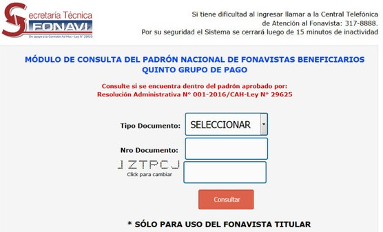 Módulo de Consulta del Padrón Nacional de Fonavistas Beneficiarios Quinto Grupo de Pago.