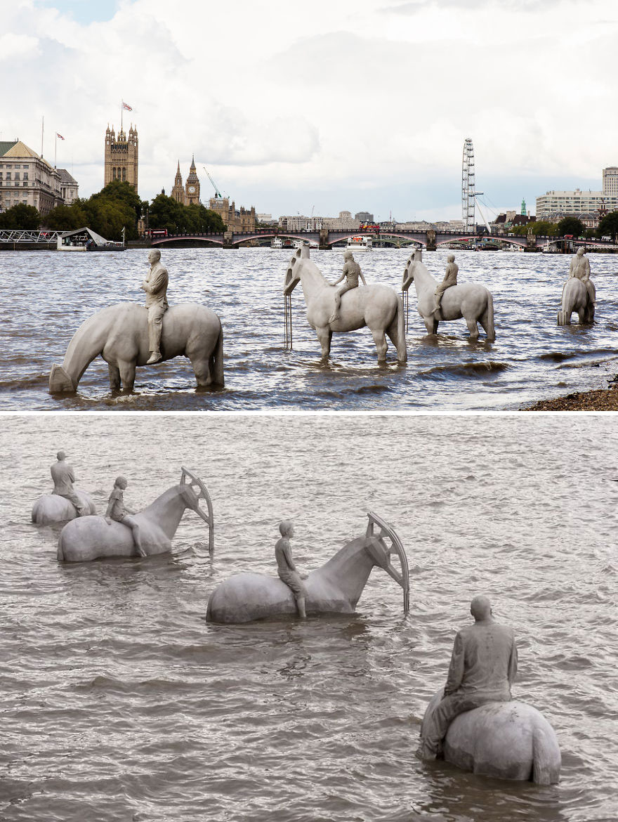 42 Of The Most Beautiful Sculptures In The World - The Rising Tide By Jason Decaires Taylor, London