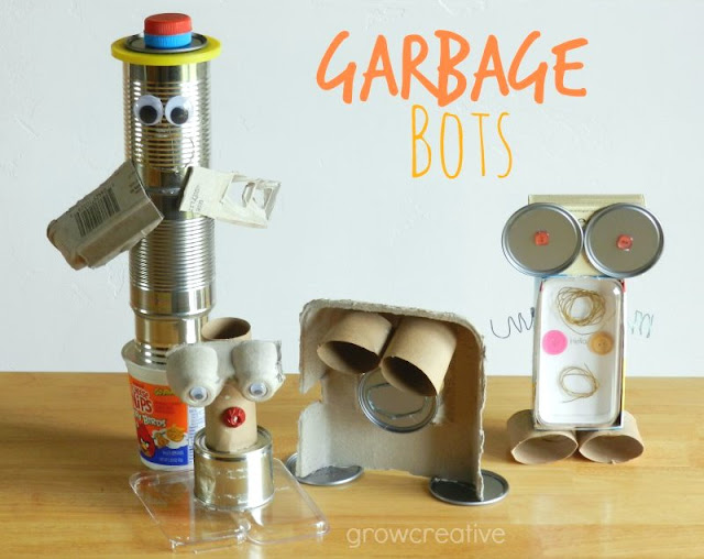 Make garbage bots out of recyclables: Grow Creative Blog
