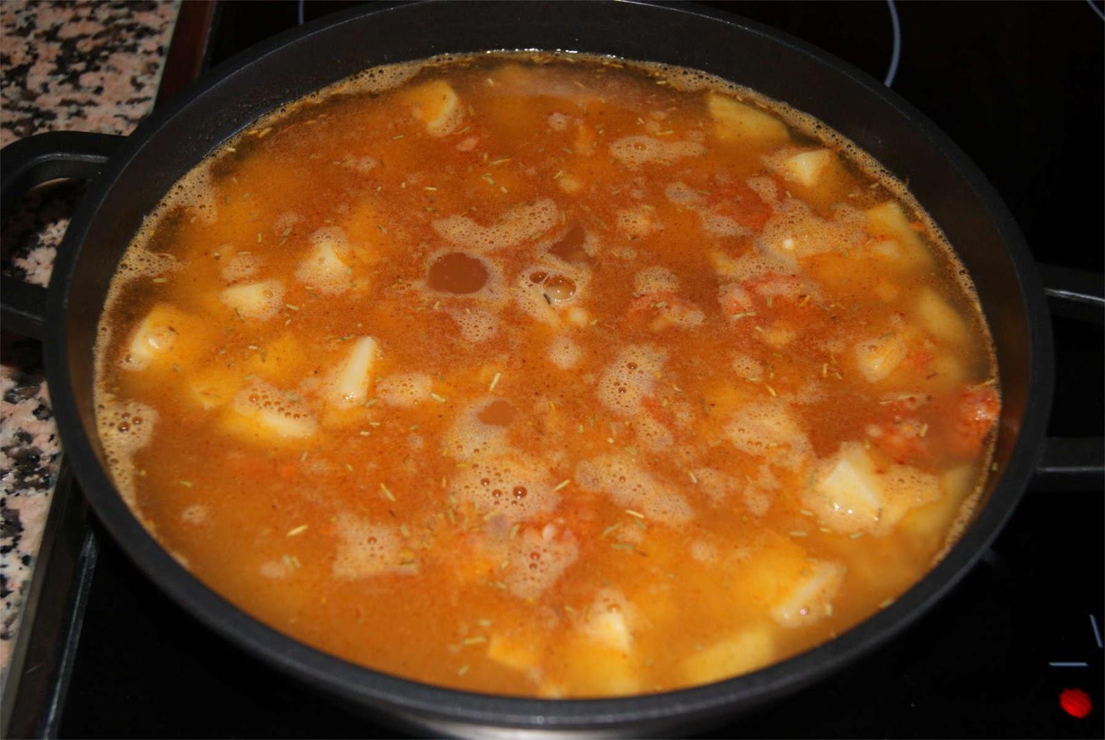 Arroz con chorizo y patatas paso 3
