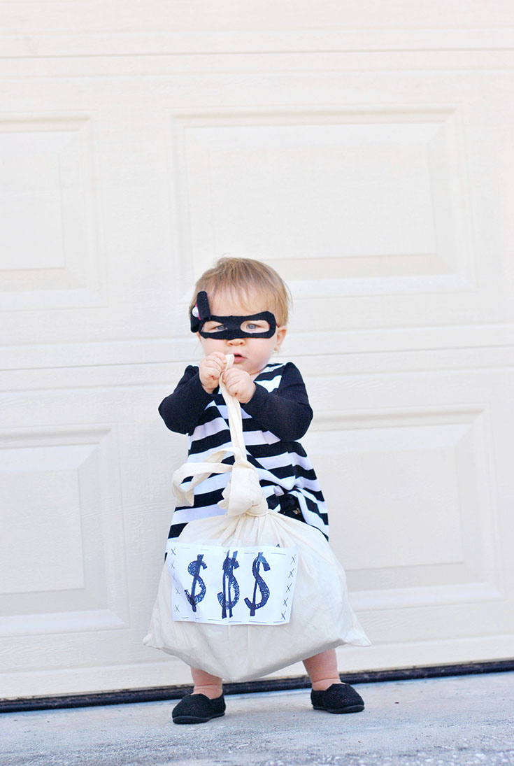 diy baby bank robber bandit halloween costume inspiration |lauren