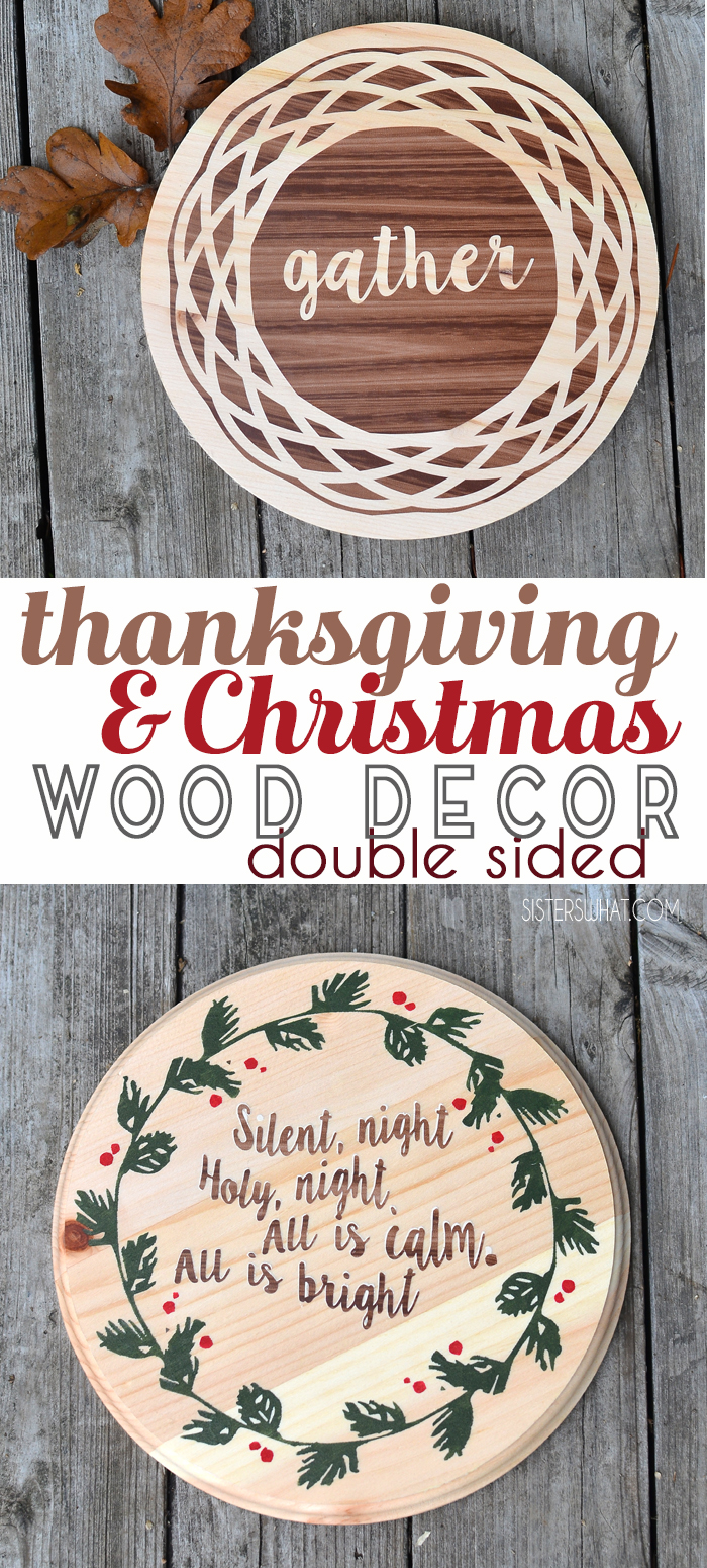 double sided thanksgiving and christmas decoration using contact paper and paint
