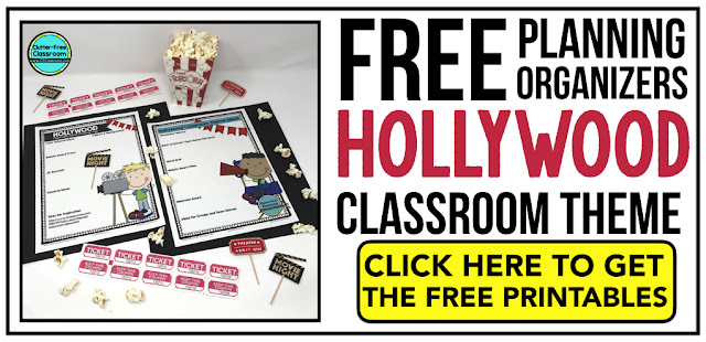 HOLLYWOOD Theme Classroom: If you're an elementary teacher who is thinking about a Movies, movie star, popcorn, or superstar Hollywood theme then this classroom decor blog post is for you. It'll make decorating for back to school fun and easy. It's full of photos, tips, ideas, and free printables to plan and organize how you will set up your classroom and decorate your bulletin boards for the first day of school and beyond.
