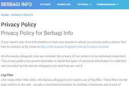 Cara Membuat Privacy Policy Di Halaman Blog