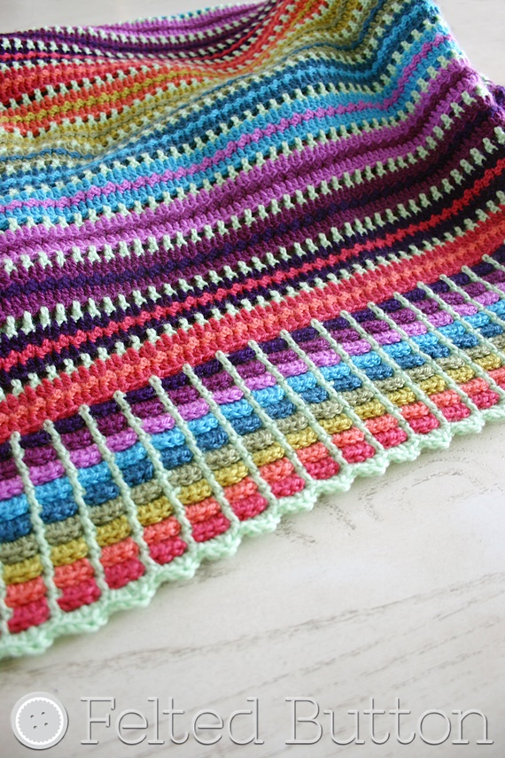 Felted Button Colorful Crochet Patterns Skittles Blanket Free