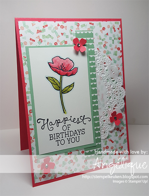 http://stempelkeuken.blogspot.com De Stempelkeuken Birthday Blooms, Birthday Bouquet DSP, Watermelon Wonder, Mint Macaron, Itty Bitty Accents, Archival Black, Tea Lace Paper Doilies, Rhinestone Basic Jewels, blenderpen