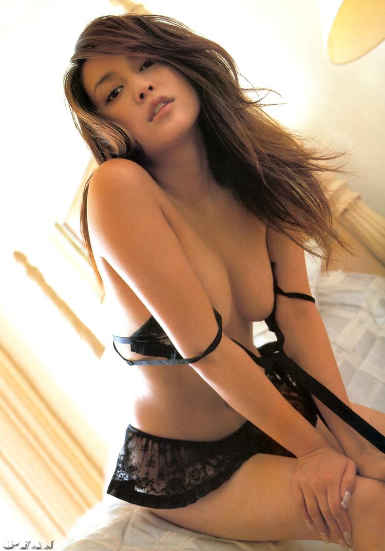 Kana Ito Japanese Gravure Idol Sexy Black Lace Night Dress -3084
