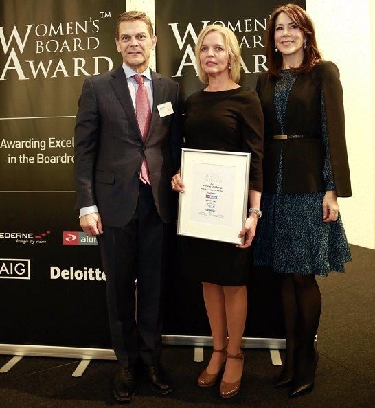 Women's Board Award 2017. Crown Princess Mary wore LK Bennett Bryony Evergreen Silk Dress