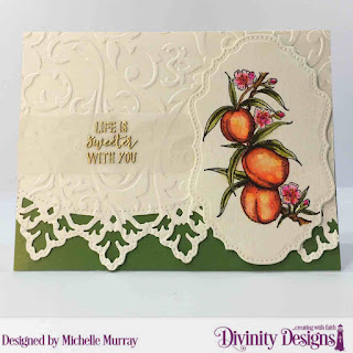 Divinity Designs Stamp: Peach Branch, Custom Dies: Double Pierced Vintage Labels, Leafy Edged Borders, Embossing Folder: Flourishes