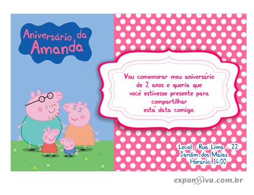 convite de aniversario peppa pig 8 - Convite de Aniversário Infantil Peppa Pig