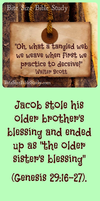 Jacob repaid for his deception, Jacob and Esau, Older Brother's blessing, Genesis