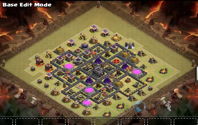 Base Trophy TH 9 COC Update Bomb Tower Terbaru 2017 Tipe 4