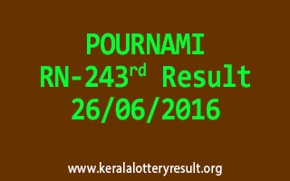 POURNAMI Lottery RN 243 Result 26-6-2016