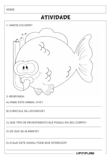 Atividade para imprimir  Característica dos peixes