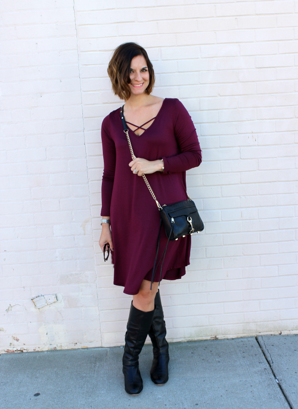 swing dress, black leather boots, fall fashion, gray monroe