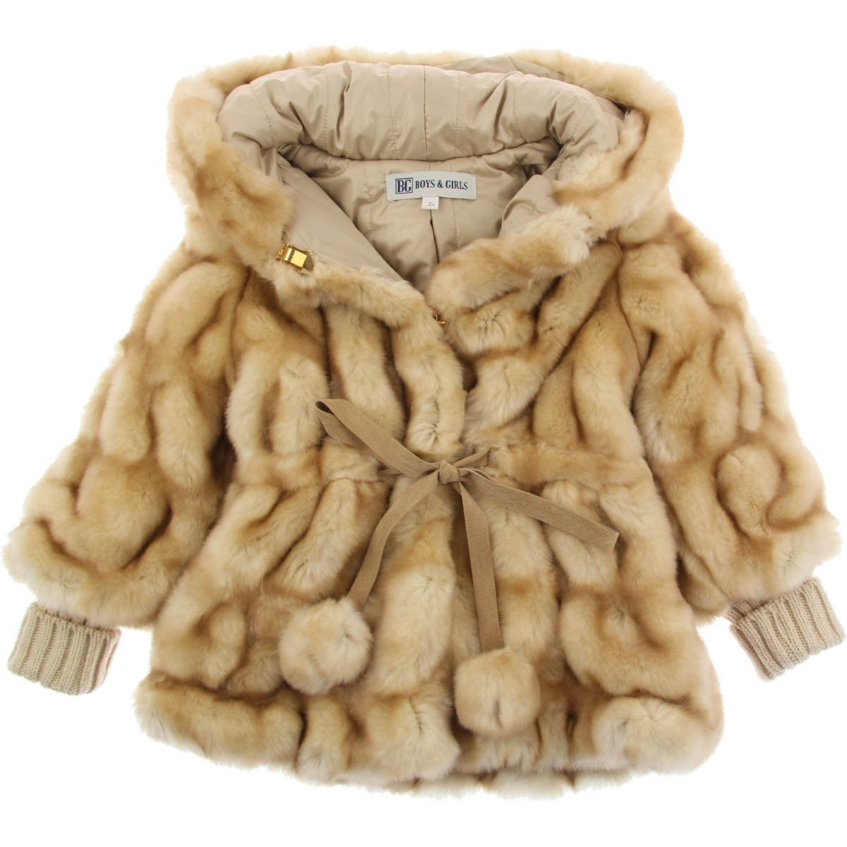 New Baby and Girls Fleece Coat with Fur Trim. This beautiful soft and cozy fleece coat is A-line swing style. Coat has fleece covered buttons. and features a faux fur collar and cuffs.