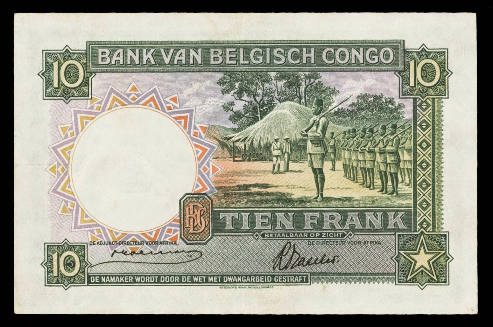 Belgian Congo banknotes 10 Francs Belgian colonial army Force Publique
