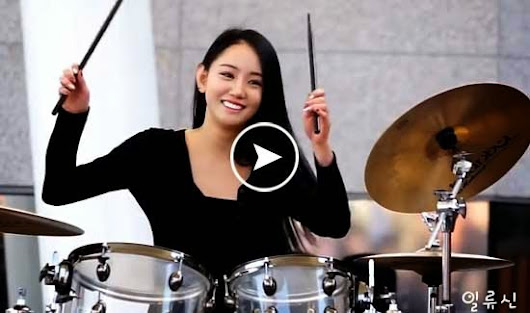 Gorgeous Korean Drummer Girl Drumming Pop Tune