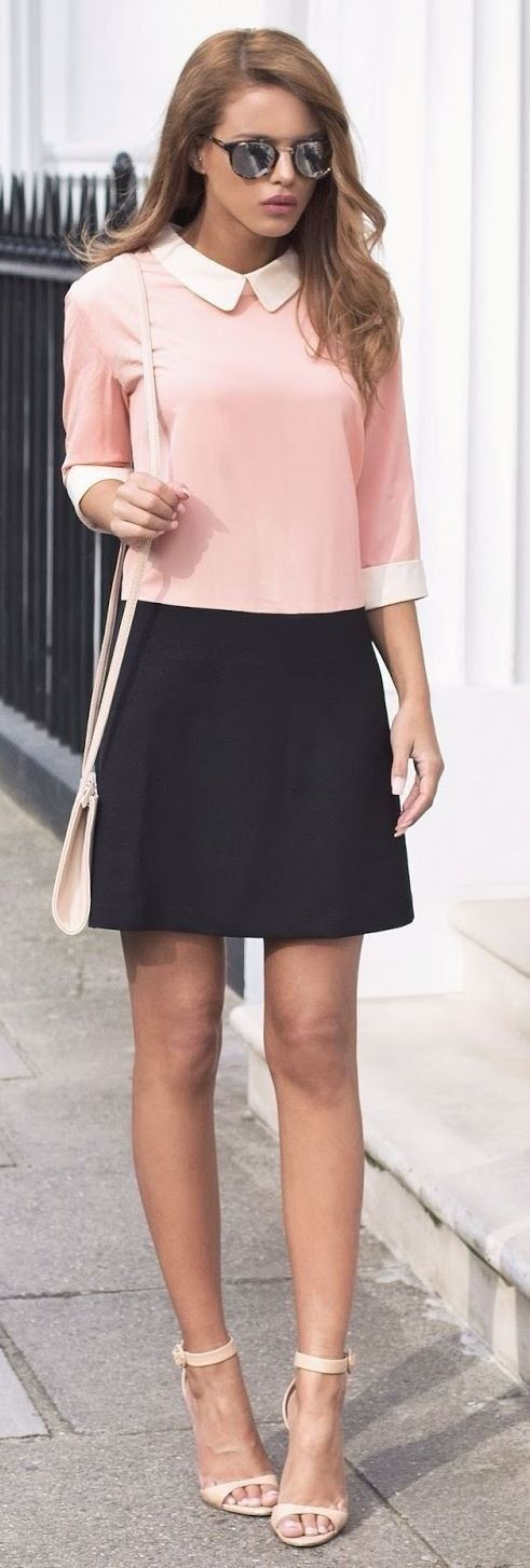 short skirt paired with a pastel, collar top with 3/4th sleeves. Casual Womens Fashion and Womens Cool Trending Clothes, Dresses. #womensfashion #womensdress #summeroutfit #casualoutfit