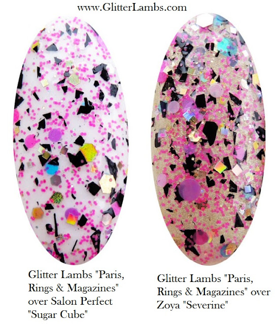 Custom handmade glitter topper nail polishes glitter toppers lacquers indie shapes black shreds pink blue yellow shape cool unique amazing 2016 Salon Perfect Sugar Cube Zoya Severine