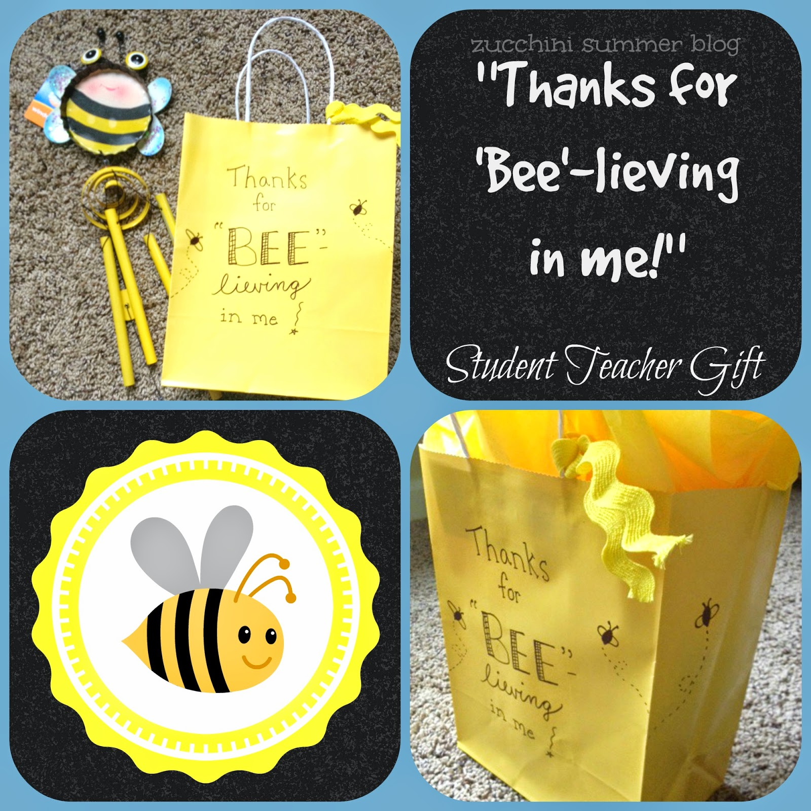 zucchini summer blog, teacher gift, bumblebee gift, yellow gift, student teacher, cooperating teacher gift ideas