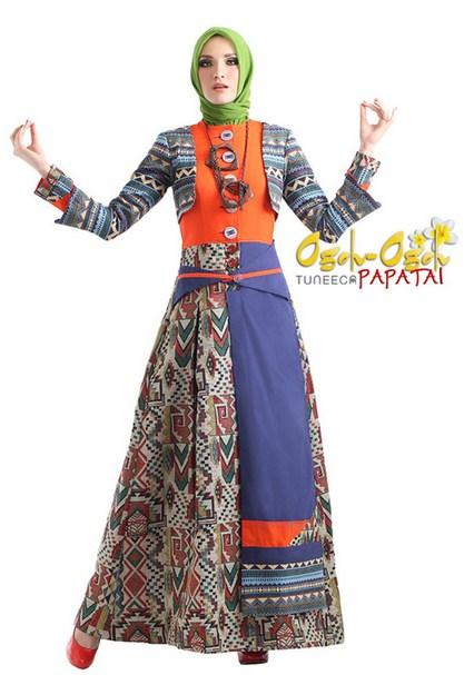 15 Desain Baju Muslim Etnik Wanita Terpopuler