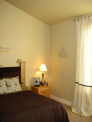 Before and after of an amazing master bedroom transformation. From dark to farmhouse chic!